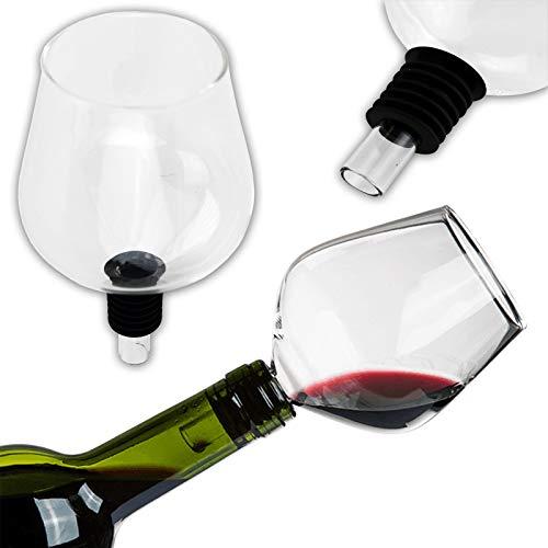 KOSxBO® Flaschenaufsatz aus Hochwertigen Glas mit Silikondichtung ideal als Weinglasaufsatz für Party - Hochzeit - JGA - Wine Glass - Party Gadget - edler Scherzartikel