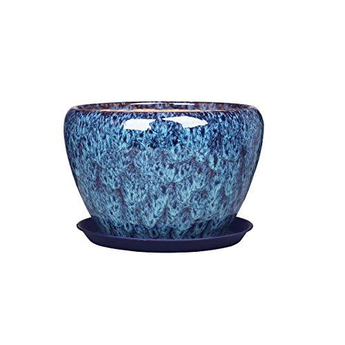 CNCYHP Keramische Bloempot Extra Grote Chinese Stijl Huis Binnen Bloempot Verloop Blauw Duurzaam en mooi