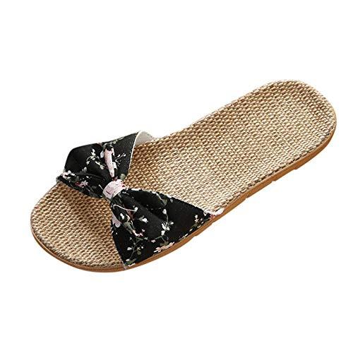 VJGOAL Mujer Sandalias de Pala Lino Antideslizante Chanclas Planas Arco de impresión Floral de Bohemia Casual Vintage Verano Playa Zapatos Romanos