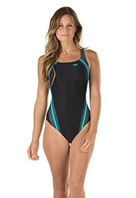 Speedo Women's Quantum Splice Power flex Eco One Piece Swimsuit, Bail Blue, 10