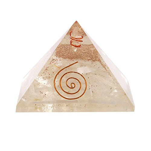 aatm Reiki energía Selenite orgón pirámide con Claro Cristal Gema Cobre Metal/EMF protección, Meditación, Yoga Generador de energía