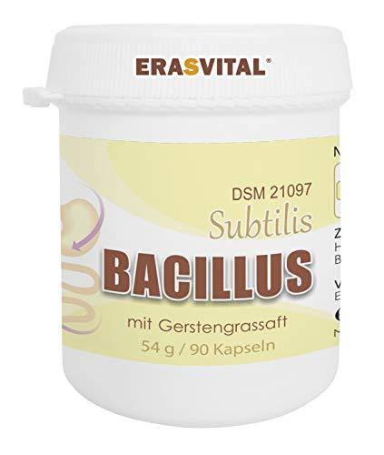 ERASVITAL® Gerstengrassaft mit Bacillus Subtilis DSM 21097 I 90 Kapseln = 54g I 1,2 Milliarden KBE I Lacktosefrei I Glutenfrei I Vegan