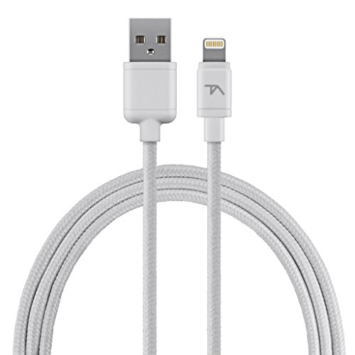 Tech Armor - Apple Certified Lightning-kabel - Stevige gevlochten extra lange jas - Sync/Charge iPhone & iPad - Space Grey - 2FT