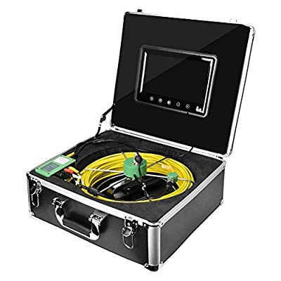 Pipe Inspection Camera,9In 1000 Tvl Ip68 Waterproof 145° Wide Angle 30M/100Ft Video Sewer Pipe Inspection Equipment for Blocked/Slow Drain Pipe,Wall/Line Inspection (US Plug)