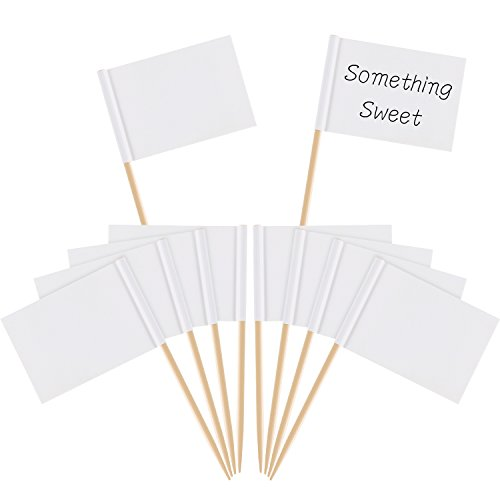 Pangda Blank Toothpick Flags Cheese Markers White Flags Labeling Marking for Party Cake Food Cheeseplate Appetizers (100)