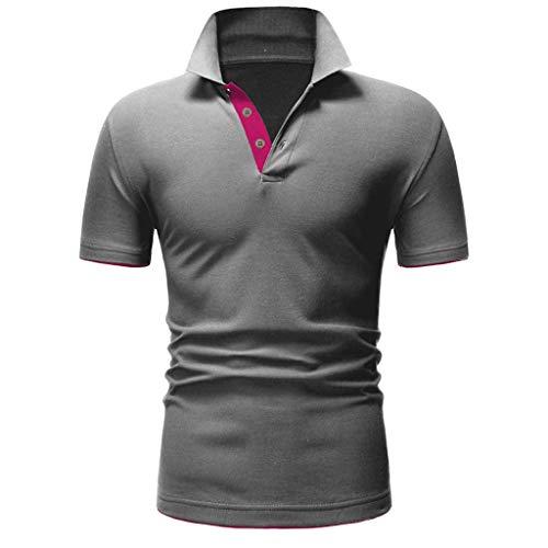 LILICAT Shirts Herren Kurzarm Kontrast Polohemd T-Shirt Polo Shirts Regular Fit Feierliche Poloshirts Leichtes Freizeithemd Knopf-Hemd Männlich Slim Fit Patchwork Shirt