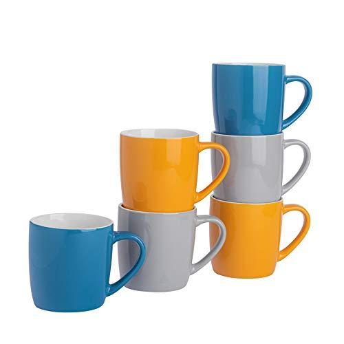 Argon Tableware Tasses à thé/café en céramique - coloré/Moderne - 340 ML - Jaune/Bleu/Gris - Lot de 6