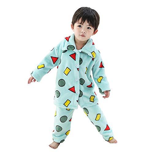 Mitigo パジャマ 長袖 クレヨンしんちゃん風 可愛い もこもこ フランネル 暖かい ルームウェア 厚手 上下セット 前あき 寝巻き トップス パンツ ゆったり ふんわり 肌に優しい 部屋着 男の子 女の子 (グリーン, 140)