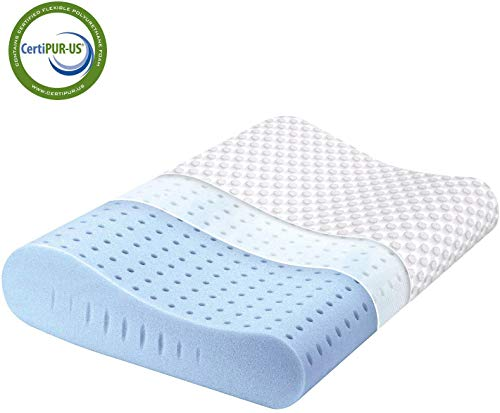 Milemont Memory Foam Pillow, Cervical Pillow for Neck Pain, Orthopedic Contour Pillow Support for Back, Stomach, Side Sleepers, Pillow for Sleeping, CertiPUR-US, Standard Size
