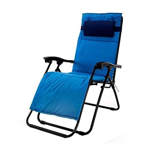 FTFTO Office Life Chaise Longue Zero Gravity Chaise inclinable Pliante Transats de Jardin Bleu Textilène (Couleur: A)