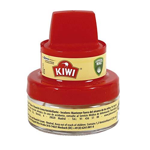 KIWI Crema abrillantadora con aplicador, Nutre y Protege, para calzado Incoloro, 50ml