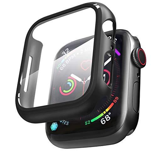 Matery - Carcasa de cristal templado para Apple Watch Series 6 / 5 / 4 / SE (protector de pantalla antiarañazos)