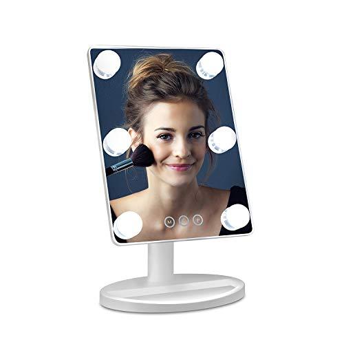 Auting Hollywood Kosmetisch Spiegel mit Beleuchtung Schminkspiegel LED Make up Spiegel, USB,3 Farbtemperatur Licht, 6 Dimmbare LED,360 Grad Kipp Makeup Mirror Tischspiegel