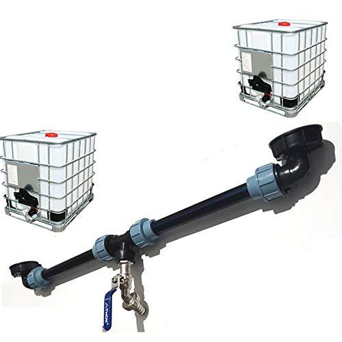 BE-TOOL IBC Tank-Adapter, Tank-Adapter für Wassertank-Auslass-Befestigung/Ellbogen-Te-Anschluss/Adapter mit Hahnventil