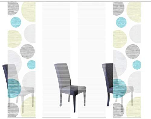 Vision S 94553 | 4er-Set Schiebegardinen Borden | halb-transparenter Stoff in Bambus-Optik | 4X 260x60 cm | Farbe: (blau-grün)