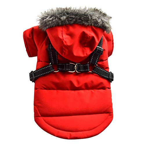 Aiboria Manteau chaud matelassé avec capuche pour chat et chien - Coupe-vent - Avec capuche amovible - Avec sangle de poitrine - Harnais pour petits chiens
