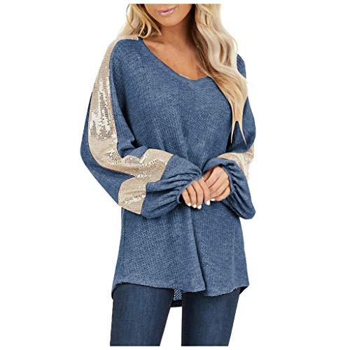 Dainzuy Henley – Blusa de manga larga con lentejuelas para mujer, cuello en V, informal, suelta, Azul,…