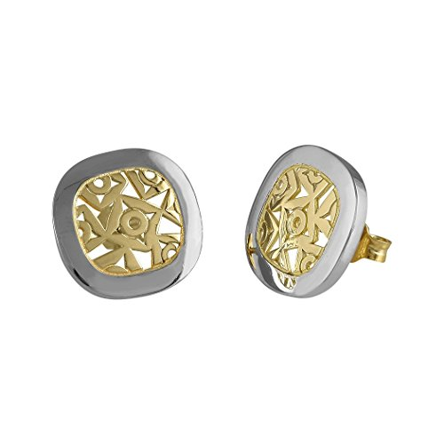 Silber-Ohrringe Queka 925m Bicolor Sammlung Act Anouska Schließen Druck Frauen