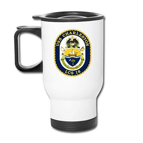 DJNGN Becher USS Charleston LCS18 Kampfschiff Edelstahl Reisebecher Becher Teetasse Kaffeetasse