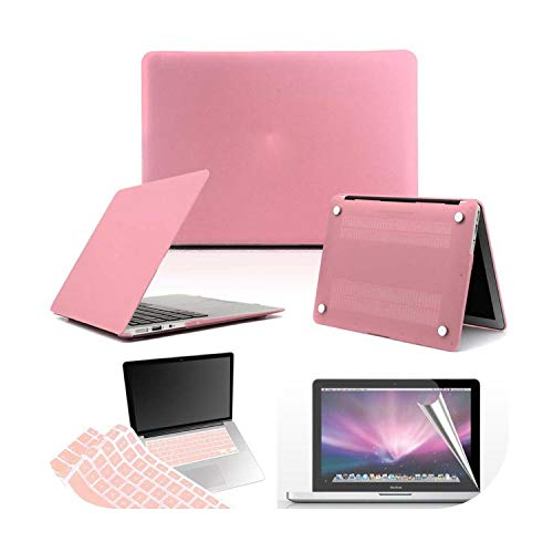 Matte Hard Shell Laptop Protector case + Keyboard Cover + Screen For Apple MacBook Air Pro Retina 11 12 13 15-Pink-Macbook White A1342
