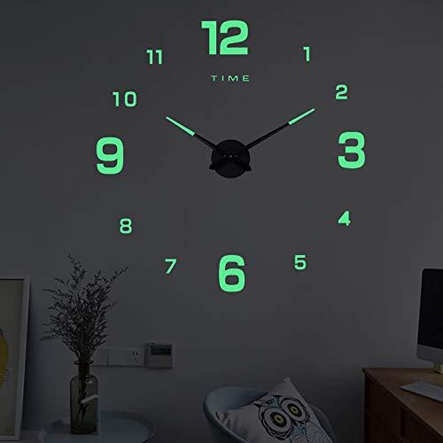 Viitech Reloj de pared para dormitorio, gran escala de fluorescencia, reloj de pared, número 3D, reloj de pared, decoración de habitación