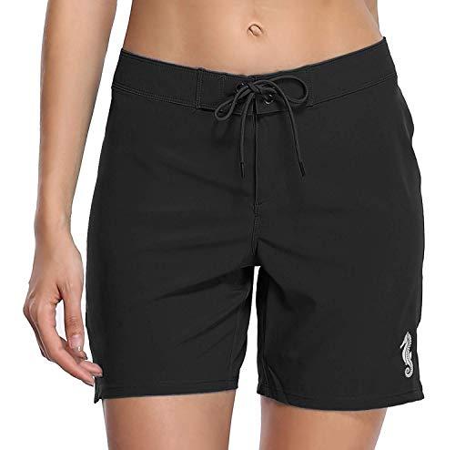 Anwell Damen Badeshorts Schwimmshorts Boardshorts Kurze Badehose Wassersport mit Waistband Bikinihose Schwarz L