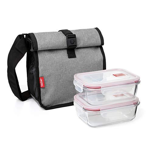 Tatay Urban Food Roll & Go - Bolsa Térmica Porta Alimentos, 4,2L de Capacidad, con 2 Tuppers Herméticos de 0,64L de vidrio, Color Denim Grey. Medidas 22 x 14,5 x 22,5 cm