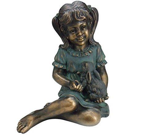 Dehner Dekofigur Mädchen mit Hase, ca. 40.5 x 33 x 31 cm , Magnesia, bronze/petrol
