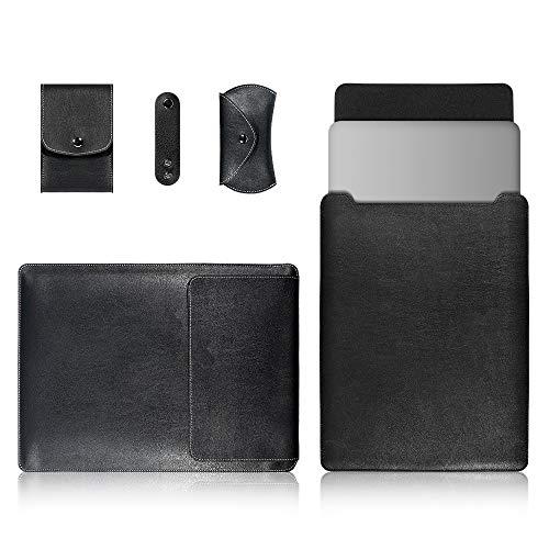 YANGJIE Étui à Onglet 4 en 1 Ordinateur Portable PU Sac en Cuir + Power Sac + Lanières + Sac Souris for MacBook 15 Pouces Tablette Couverture arrière (Color : Black)
