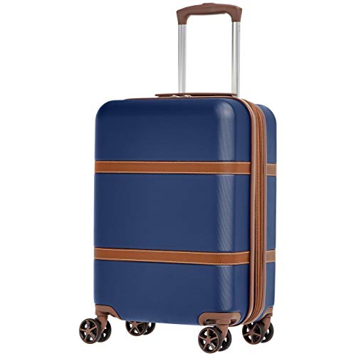 AmazonBasics Vienna Carry-On Spinner Suitcase Luggage - Expandable with Wheels - 21.6 Inch, Blue