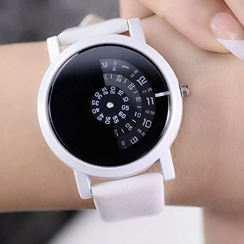 Zxzays Reloj de Pulsera de diseño Creativo cámara Concepto Breve Simple Discos Digitales Especiales Manos Relojes de Cuarzo de Moda para Hombres Mujeres, Blanco
