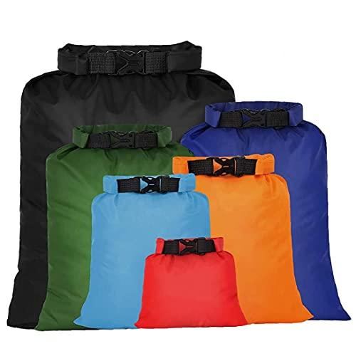 Bolso seco impermeable ultraligero deriva esnórquel seco al aire libre Sacos bolsa de almacenamiento para Camping Navegación Rafting color 6PCS para el recorrido, natación, canotaje