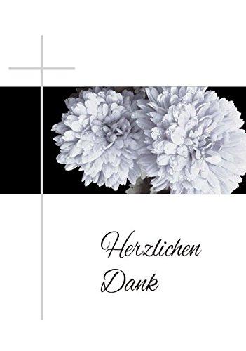Trauer Danksagungskarten Trauerkarten ohne Innentext Motiv Chrysantheme Kreuz 25 Klappkarten DIN A6 mit weißen Umschlägen im Set Dankeskarten Dankeschön Karten Kuvert Danke sagen Beileid K67