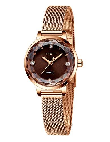 CIVO Damen Uhren Wasserdicht Silm Minimalistisch mit Edelstahl Mesh Armband Mode Kleid Elegant Beiläufig Quarzuhr für Damen,Rosegold/Braun