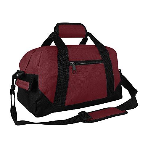 DALIX 14' Small Duffle Bag Two Toned Gym Travel Bag (Maroon)
