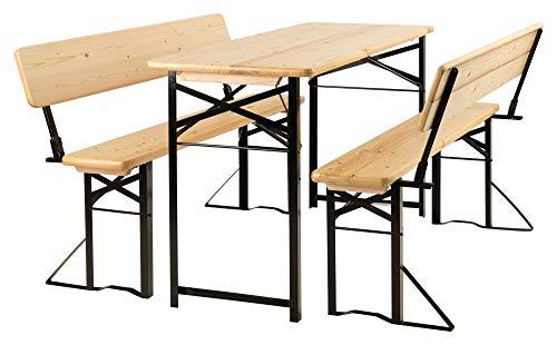 Stagecaptain BBDL-117 Hirschgarten Bierzeltgarnitur mit Lehne für Balkon - Kurze Version mit 117 cm Länge - 1x Tisch, 2X Bank - Holz - klappbar - Natur
