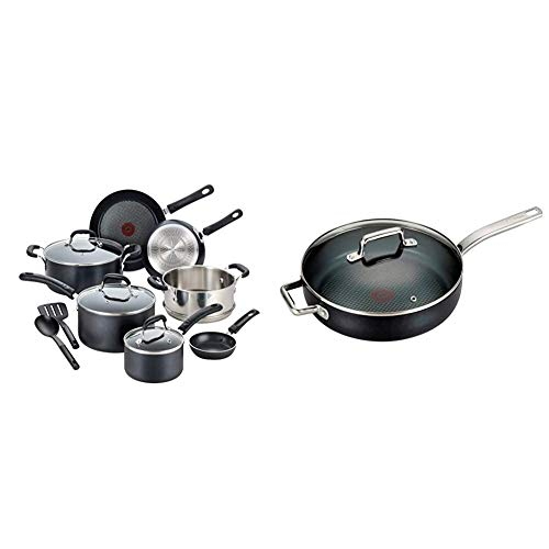 T-fal Professional Nonstick Cookware Dishwasher Safe Pots and Pans Set, Black & C51782 ProGrade Titanium Nonstick Thermo-Spot with Induction Base Saute Pan Jumbo Cooker Cookware, 5-Quart, Black