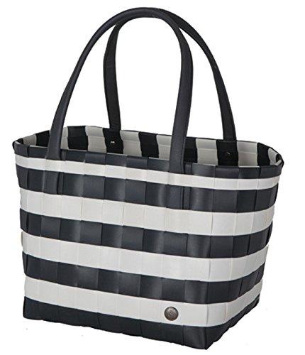Handed By - Color Block Vintage Shopper/Tasche/Einkaufstasche - breit geflochten - dunkelgrau/weiß - Größe: S - 27 x 31 x 24 cm