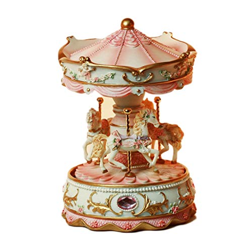 Boîte à musique manuelle Boîte à musique européenne, boîte à musique en résine carrousel créative avec lumière ornements cadeau boîte à musique anniversaire Saint Valentin Bon son ( Color : Pink )