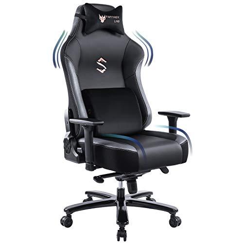 FANTASYLAB Big and Tall 400lb Massage Memory Foam Gaming Chair - Adjustable Tilt, Back Angle and 3D Arms High-Back Leather Racing Executive Computer Desk Office Chair, Metal Base, Grey/Black
