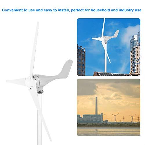 12V 500W Generador de Turbina Eólica Aerogenerador de 3 Palas Turbina de Viento de Aleación de aluminio de Baja velocidad del viento de arranque de Bajo ruido, Color blanco