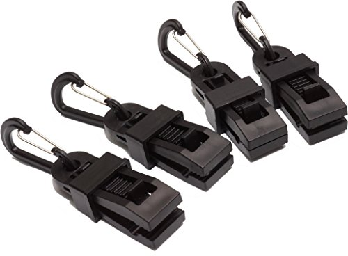 GoodsLand 4個セット & カラビナ 付き アリゲーター型 タープクリップ GD-TARPCLIP