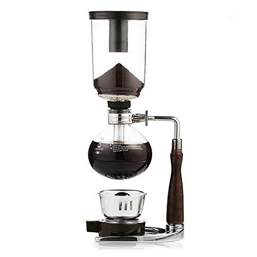 Feixunfan Siphon Kaffeemaschine Heim Manuelle Kaffeemaschine Siphon Brühen Kaffee für 3/5 Tassen für Kaffee und Tee, glas, braun, 3cups