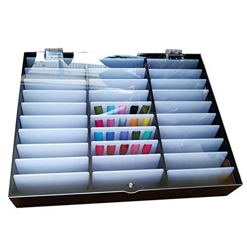 CWDOG 30 Grilles Boîte de Rangement de Maquillage Nail Tips Strass Perle Portable Réglable Conteneur Nail Décorations Bijoux Organisateur Acrylique, Noir