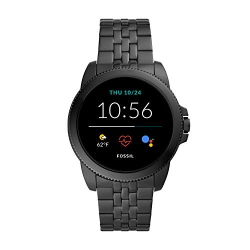 Fossil 44mm Gen 5E Stainless Steel Touchscreen Smart Watch with Heart Rate, Color: Black (Model: FTW4056)