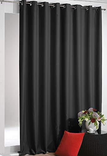 Verdunkelungsgardine mit Ösen Shadow 135 x 295 cm (Breite x Länge) in Schwarz, Extra Lange Blackout Gardine in vielen Variationen