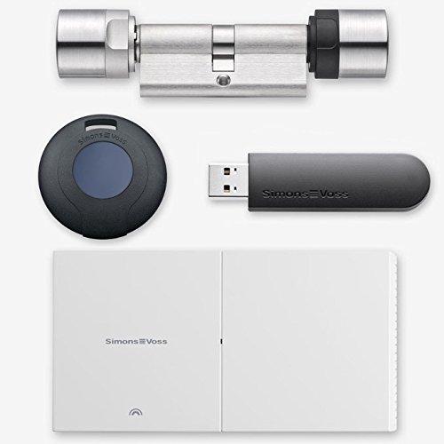 SimonsVoss MobileKey Starter Pack Online con cilindro de doble pomo, 3 transpondedores y lápiz de programación USB – todas las longitudes disponibles de 30/30 a 60/60, A:50 / I:40, 1