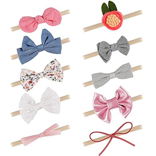 Jolintek Elásticas Diadema para Niñas Bebe,10 Piezas Diadema para Bebe Flores Multicolor Accesorios para el Cabello para Niña, Utilizadas para Regalos de Bautizo y Fotografía
