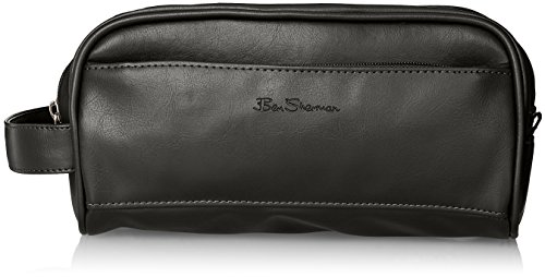 Ben Sherman Luggage Noak Hill Collection Vegan Leather Toiletry Travel Kit, Shiny Black, Double Compartment, Dual