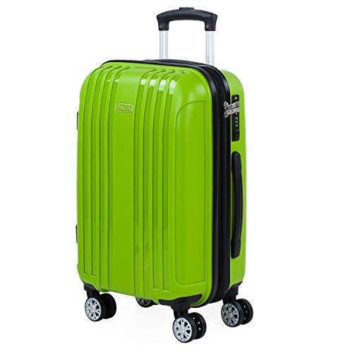 ITACA - Maleta de Viaje Cabina Avion Rígida Pequeña y Ligera con 4 Ruedas Hombre Mujer Trolley 55x40x20 cm. Material Muy Resistente. Equipaje de Mano. Candado con TSA. 760250, Color Pistacho